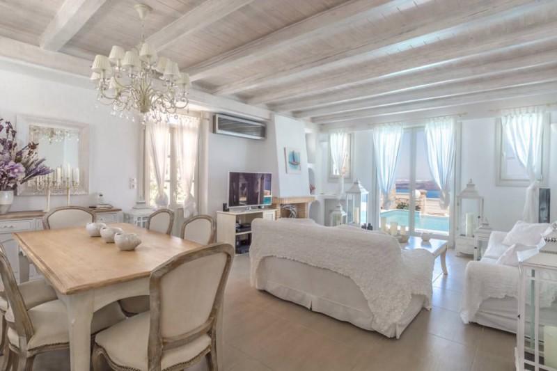 living area luxury santorini villa for rent
