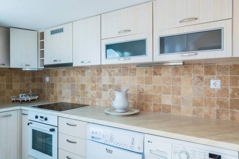 kitchen luxury santorini villa for rent
