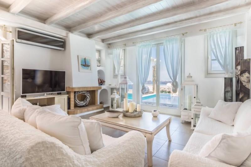 living room luxury santorini villa for rent