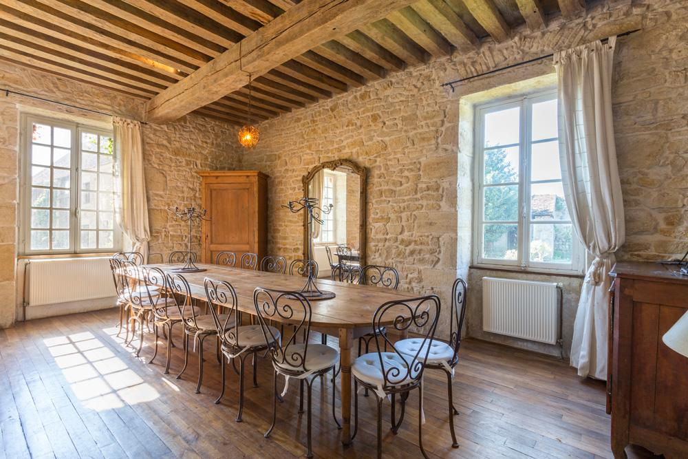 dining area large manor country house in Burgundy France for rent