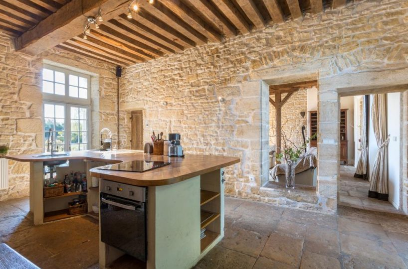 kitchen large manor country house in Burgundy France for rent