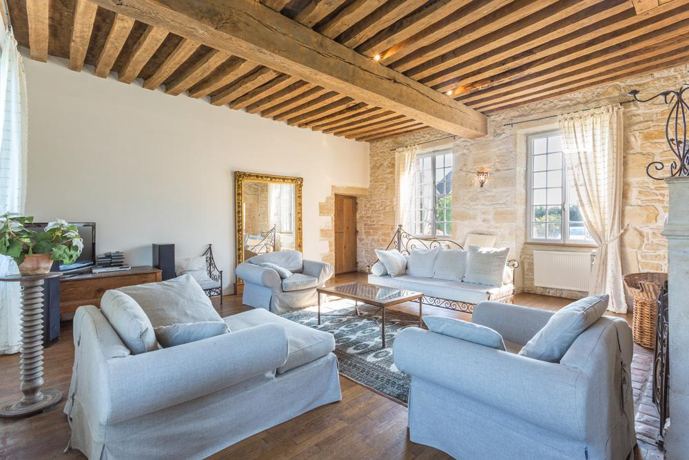 living area large manor country house in Burgundy France for rent