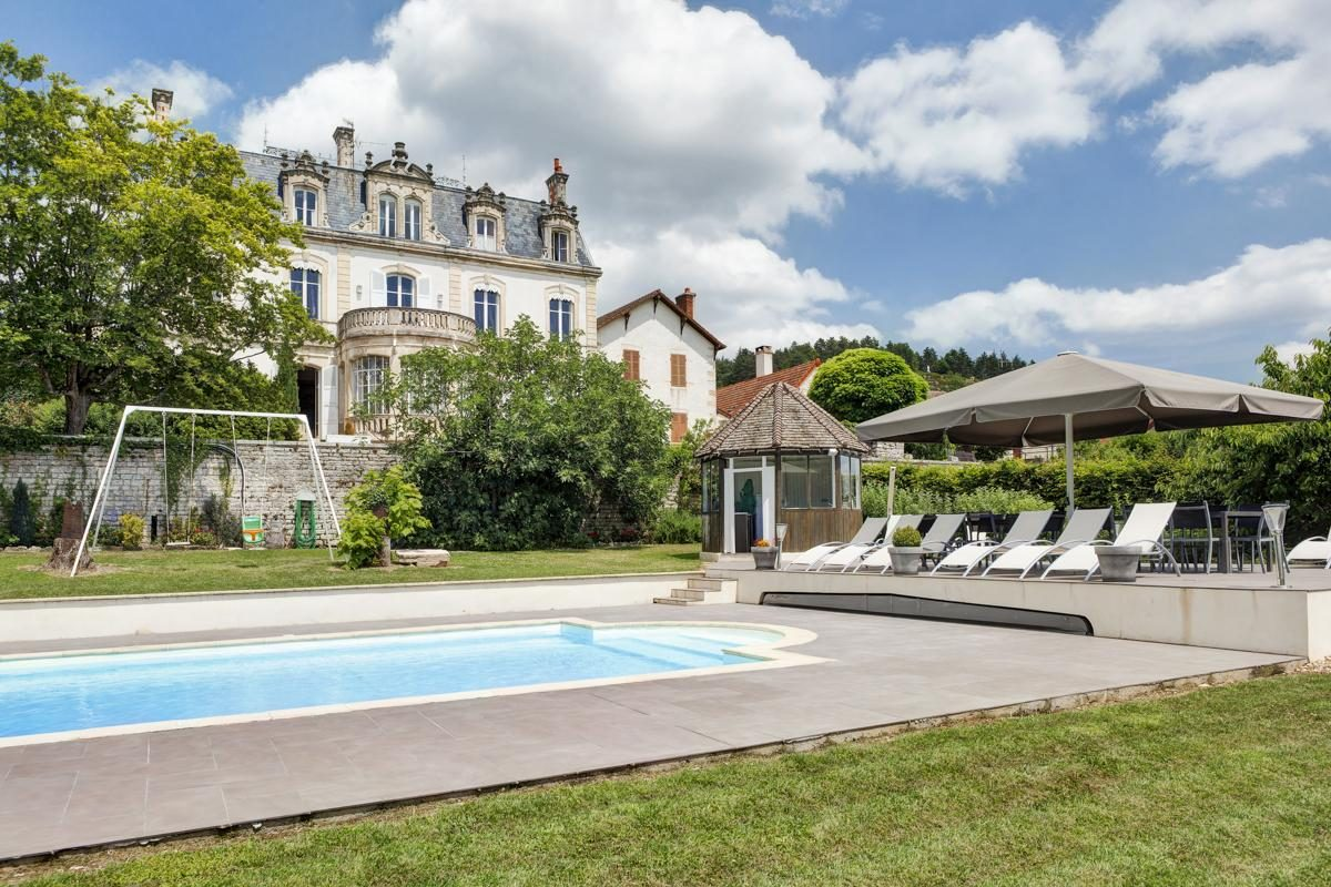 Outdoor pool view Luxury Chateau Burgundy France