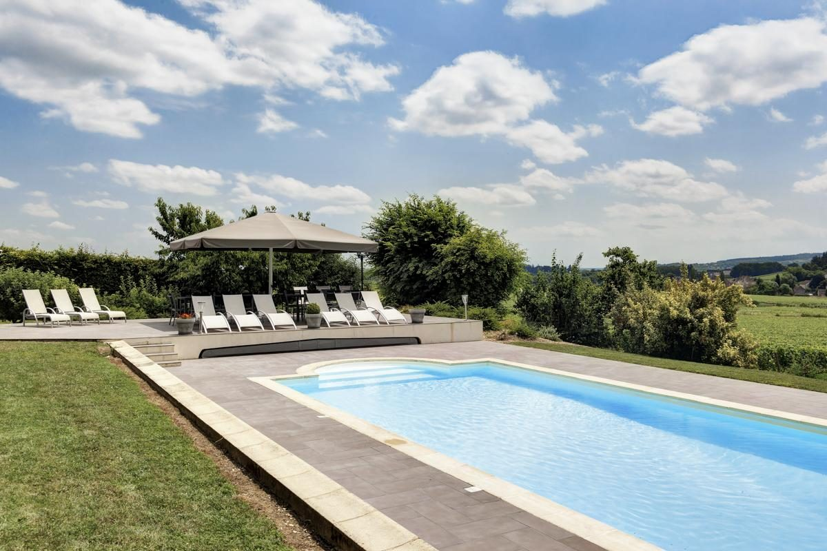 Outdoor pool side Luxury Chateau Burgundy France