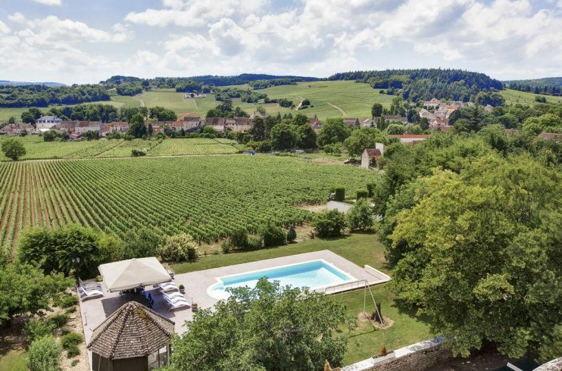 Outdoor pool vineyard Luxury Chateau Burgundy France