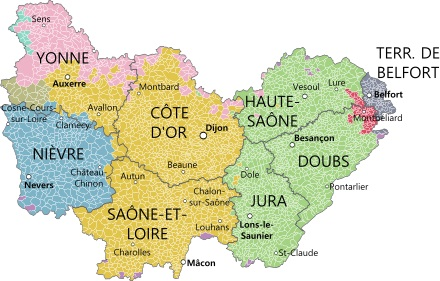 Burgundy Regional map of things to do and see