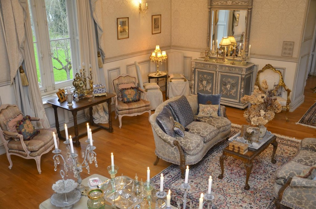 Chateau renovation beautiful antiques rich fabrics