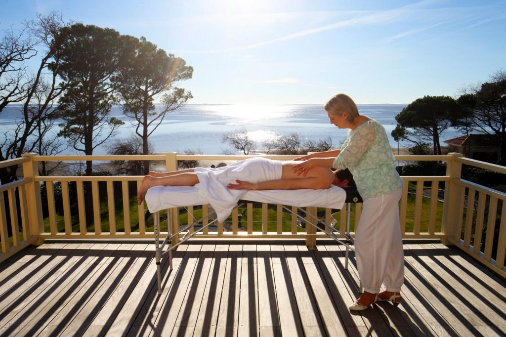 Massage outdoor with sunset