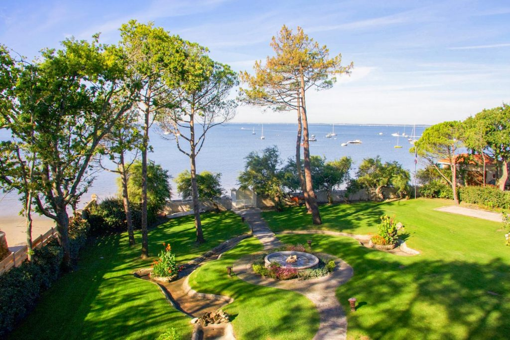 Gardens of Beach villa near Bordeaux, in Andernos-Les-Bains / Lanton area, Nouvelle-Aquitaine with private pool