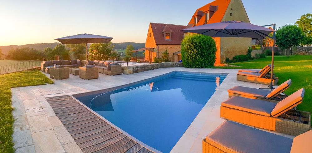 Heated outdoor swimming pool in the house