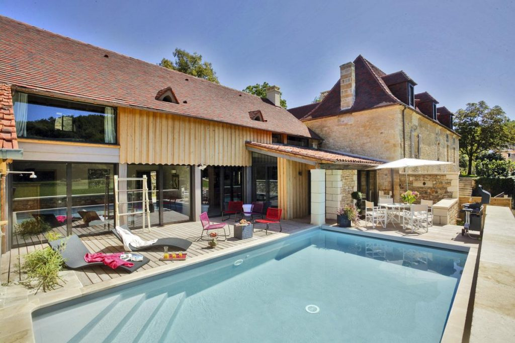Pool areas and wheel chair access villa in dordogne with a heated pool