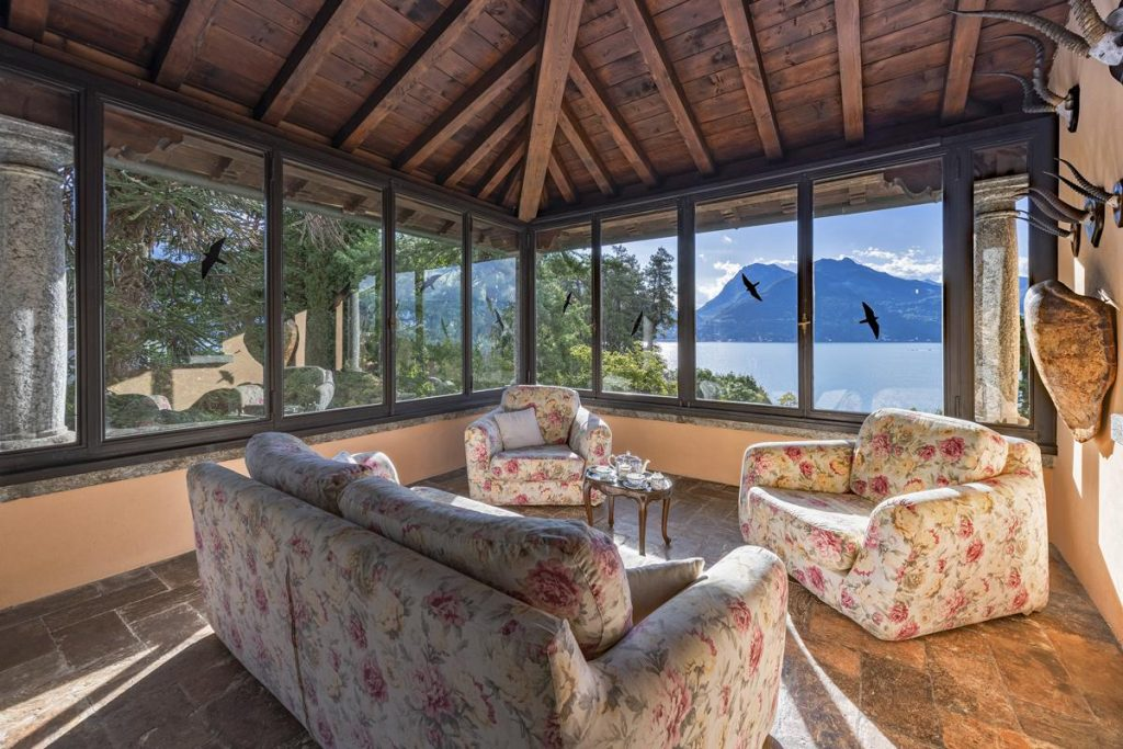 interior with views lake large luxury villa with a pool in lake Como