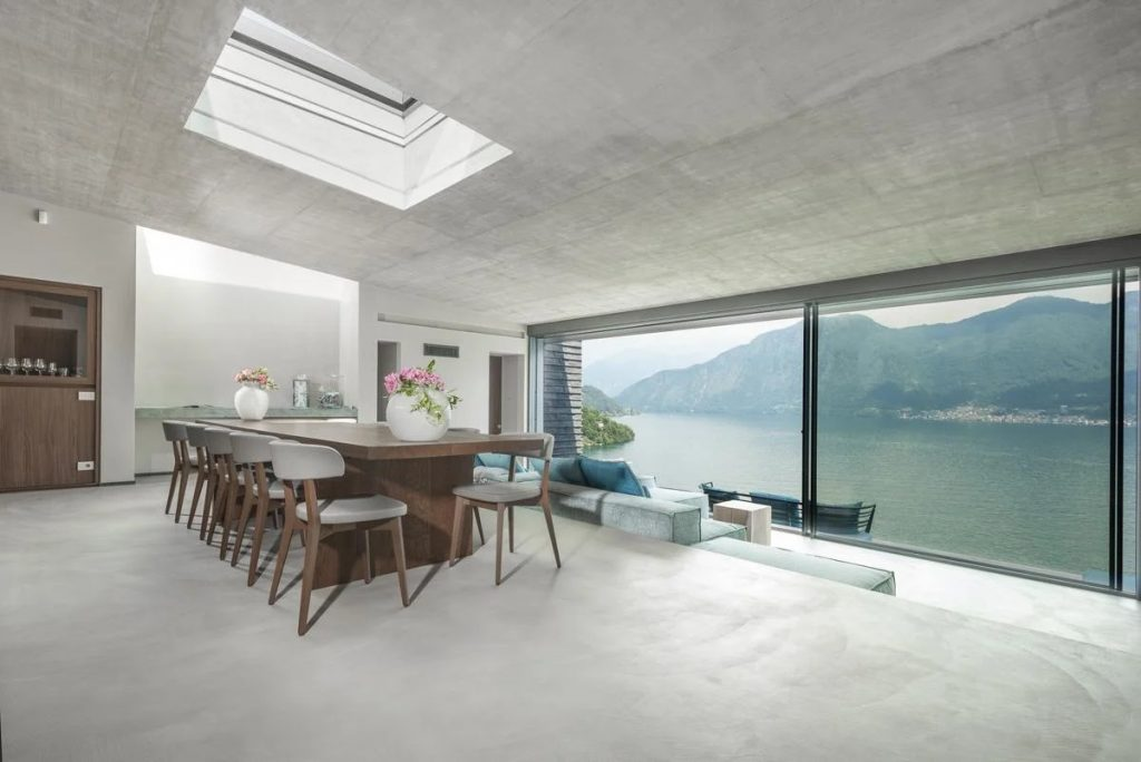 Interior dining area views Luxury villa for rent in Lake Como, Italy