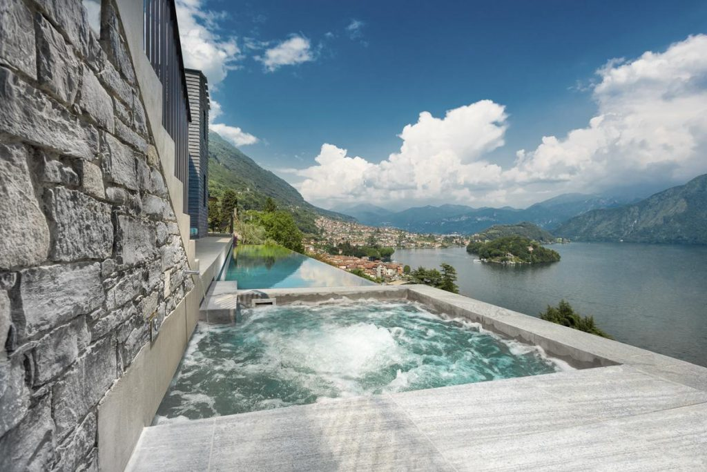 outside views pool and Hot tub Jacuzzi luxury villa in lake como italy