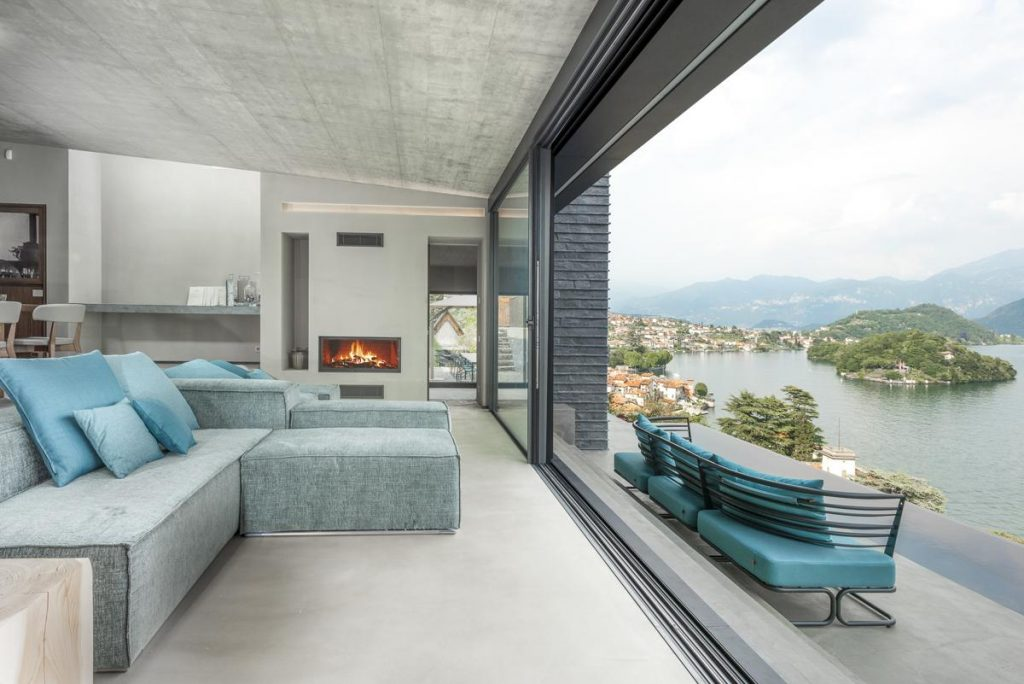 Interior sitting area with Sofa Luxury villa in lake como italy