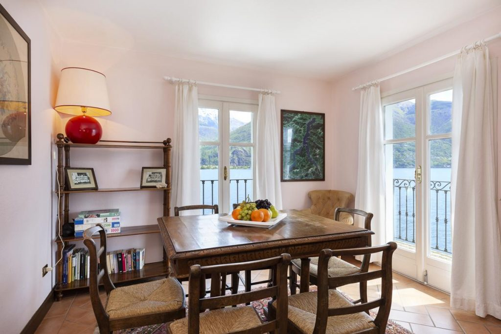 Interior dining area Italian villa rental in Lake Como