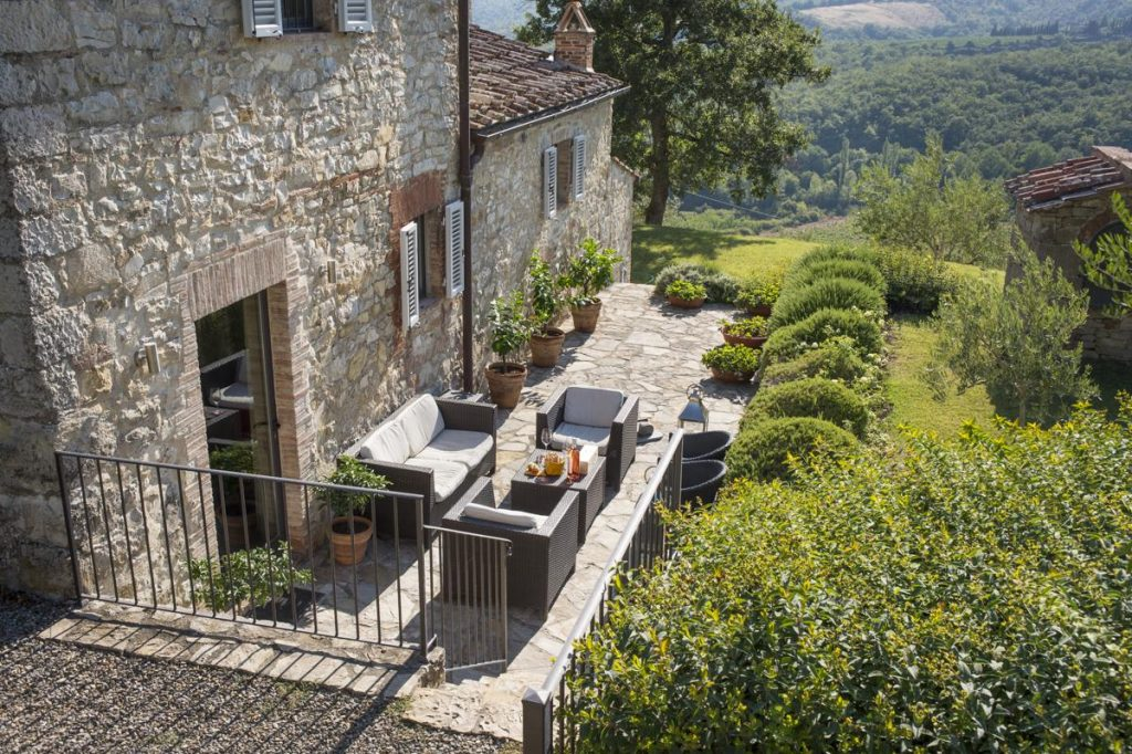Outdoor sitting area for dining Luxury villa in Tuscany with a private pool