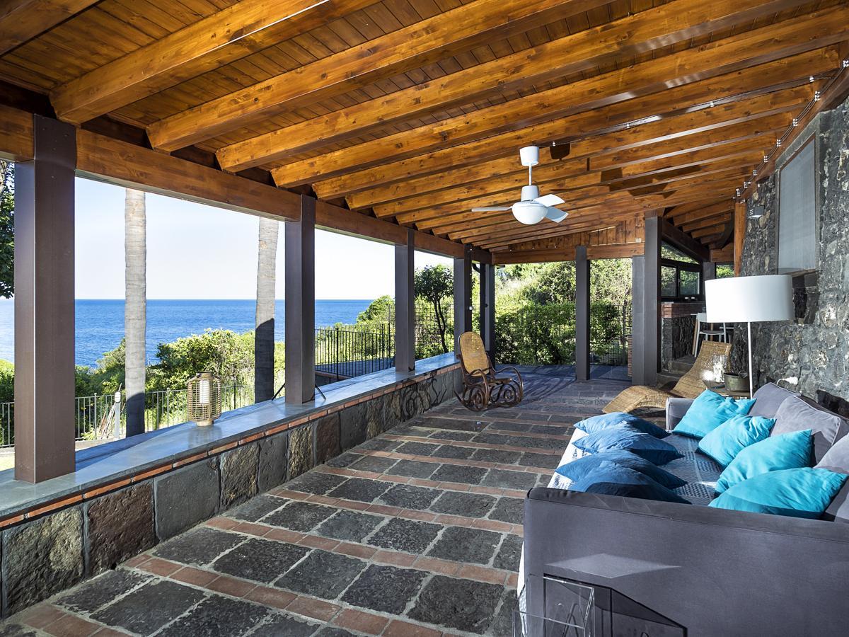 Sofas living areas facing outdoor