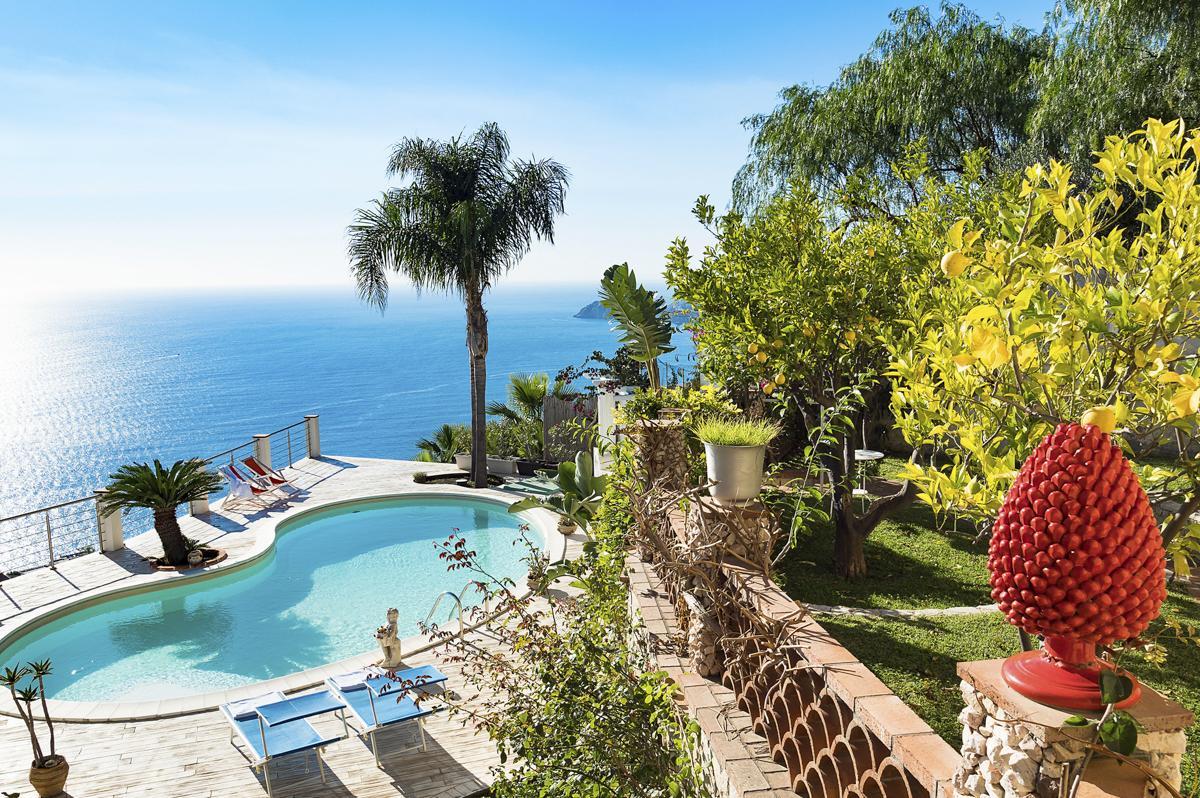 Balcony views Luxury Sicily villa with pool near a beach