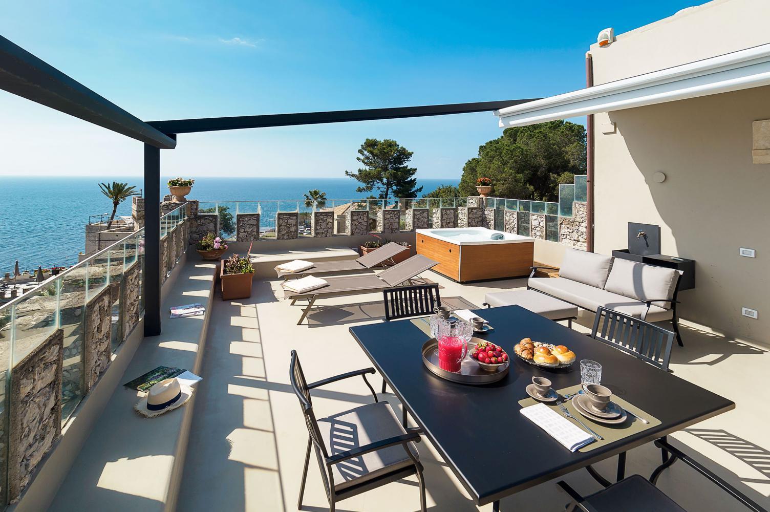 large terrace of luxury villa in Sicily