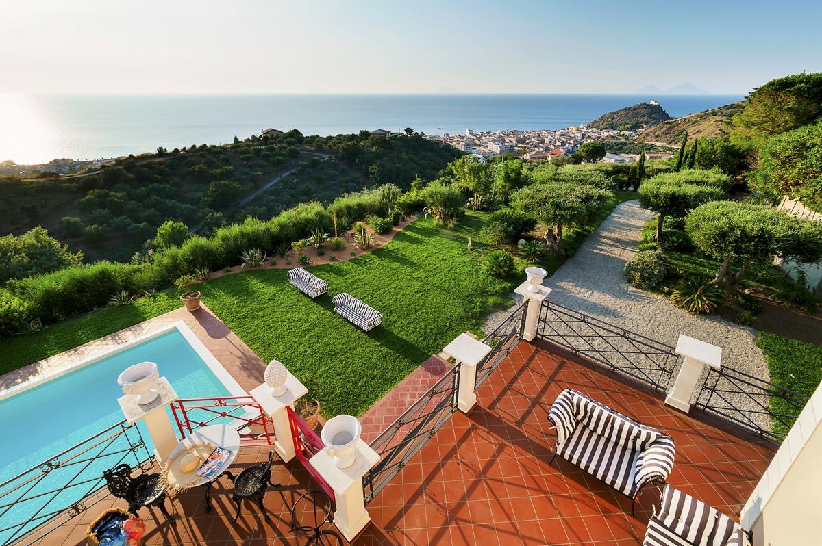 Views of Sea pool garden Luxury Mediterranean villa in Sicily