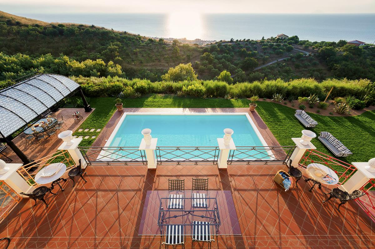 View gardens from top Luxury family villa in Sicily, Italy