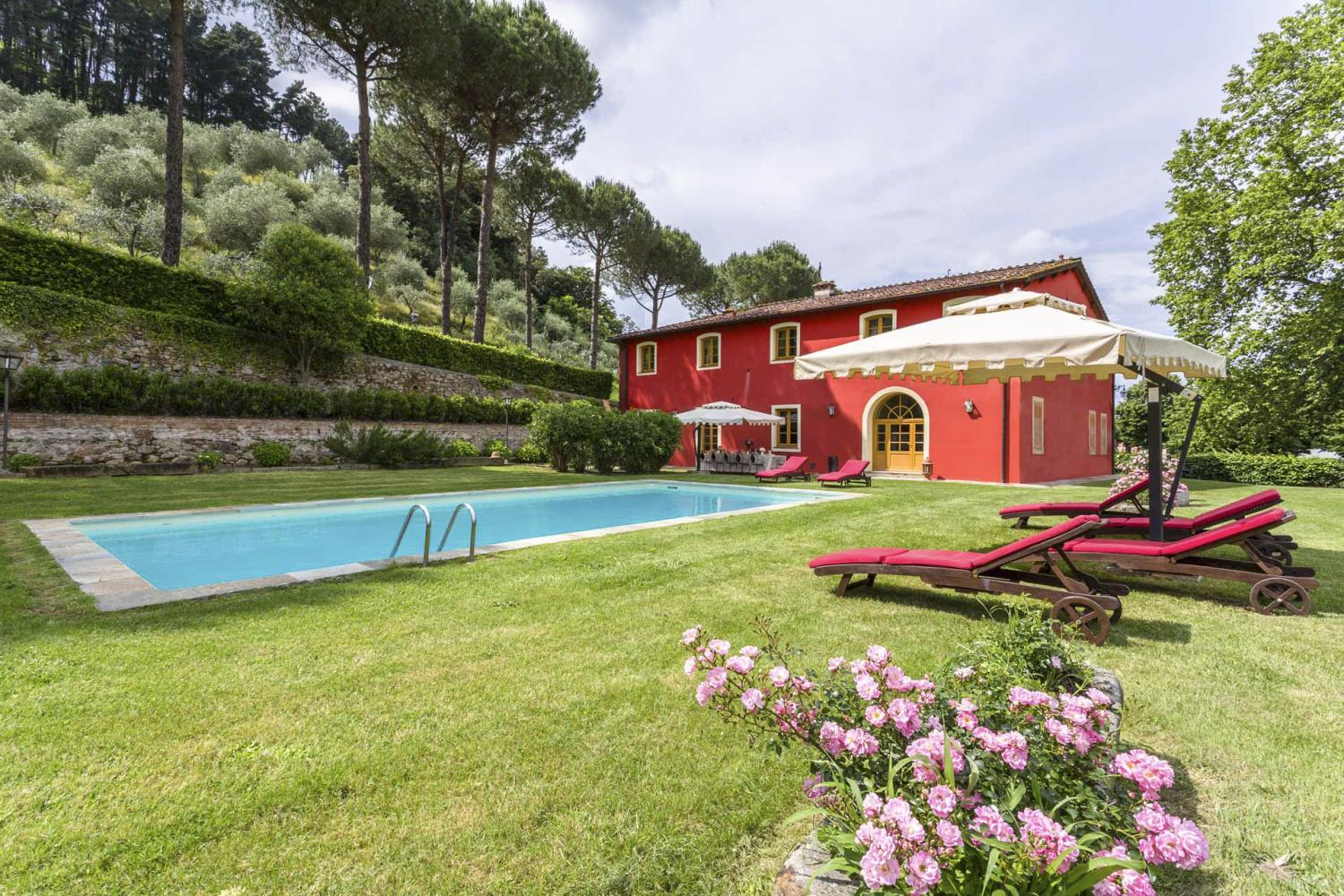 Swimming pool of Lucca villa in Tuscany