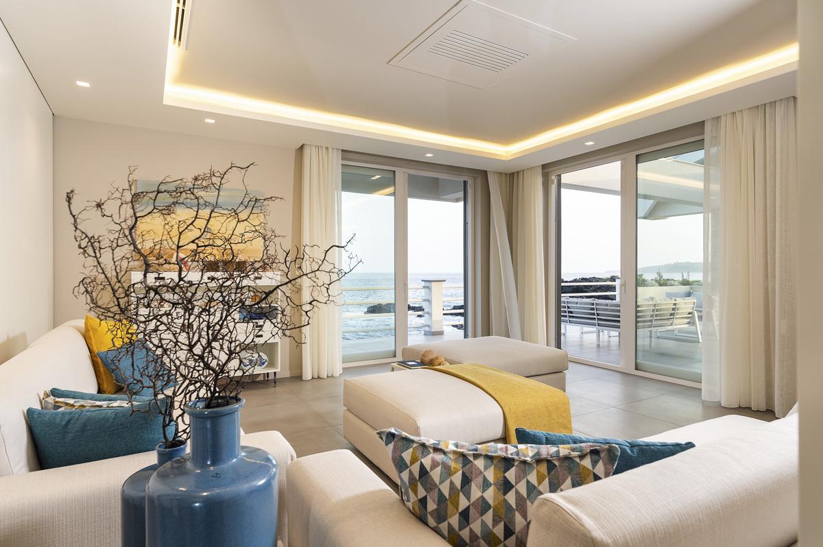 villa interior living sofa sew views