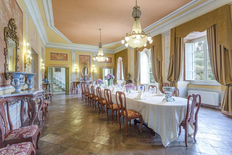 Lavish dining areas of tuscan wedding villa in Italy