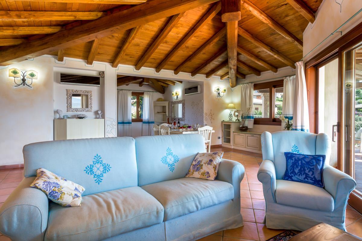 Poweder blue saofas in the villa interior