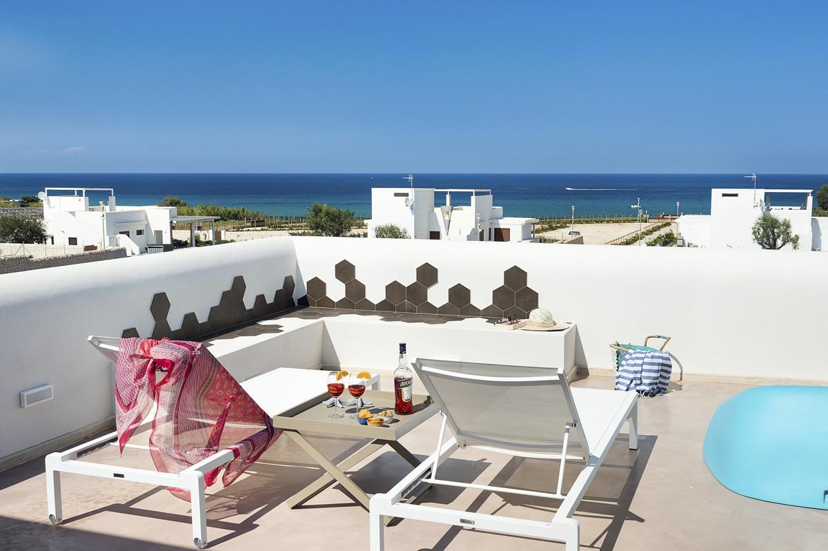 upper terrace of the beach house sicily