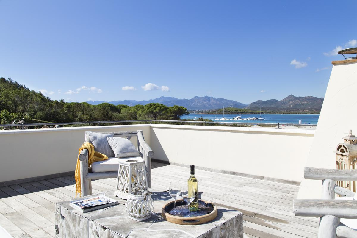 Balcony sea views Beachfront luxury Costa Smeralda villa in Sardinia